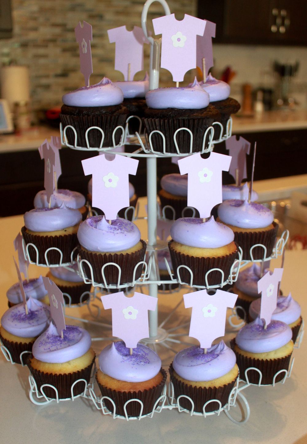 Baby Girl Sprinkle Lavender Onesie Cupcake Toppers - OhSoFancyParty.com