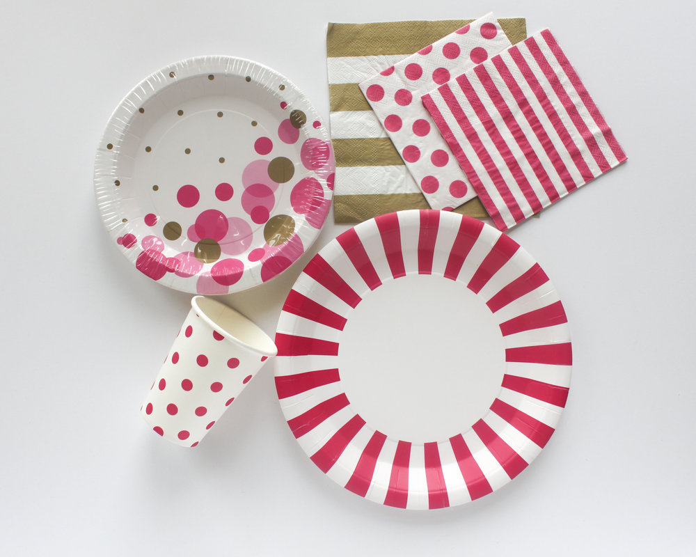 Bright Pink and Gold Tableware - OhSoFancyParty.com