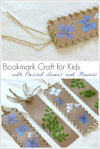 http://buggyandbuddy.com/bookmark-craft-for-kids-using-pressed-flowers-and-leaves/