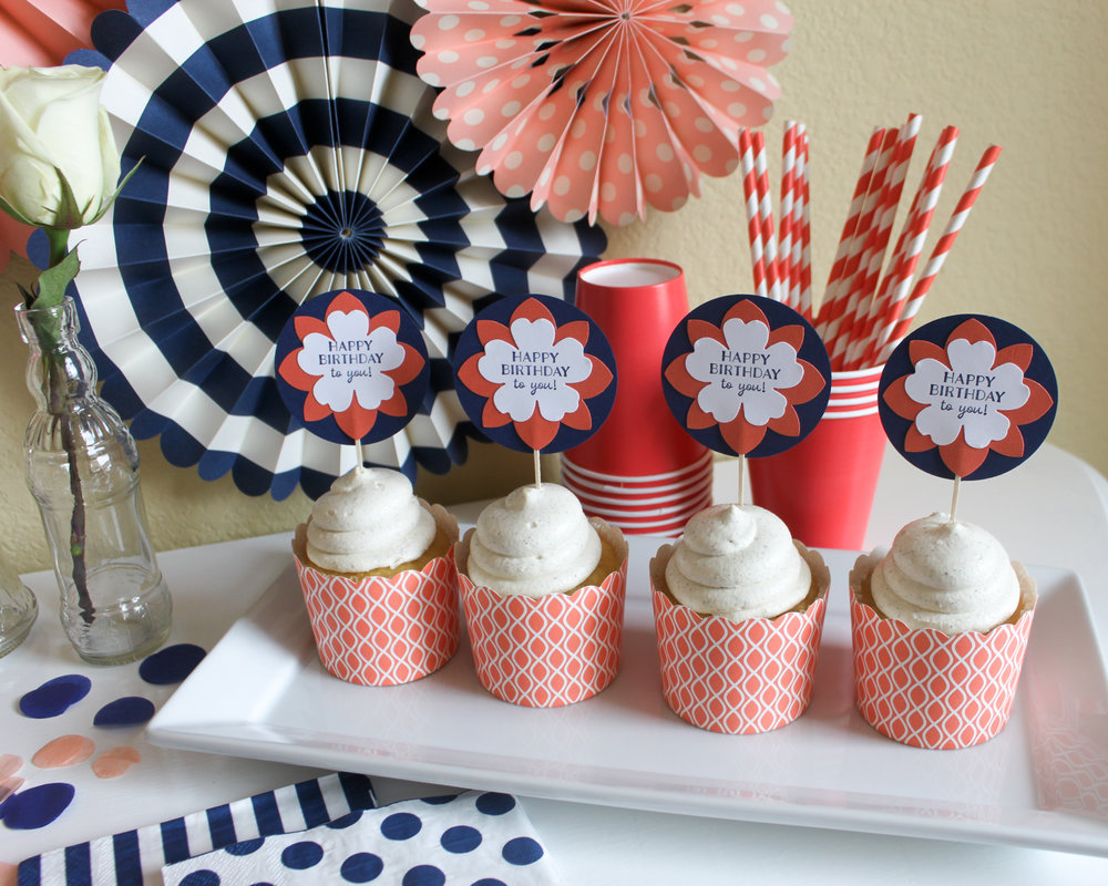 Floral Coral Cupcakes3 - OhSoFancyParty.com.jpg
