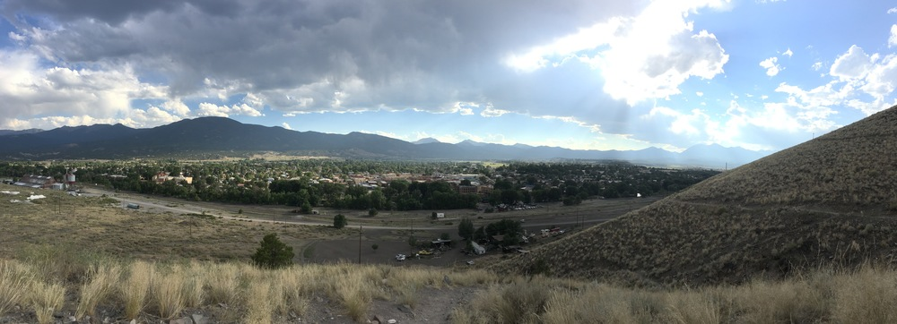 My iPhone camera lens had lots of pocket dirt smudged on it but here's a view of Salida from up the town hill.