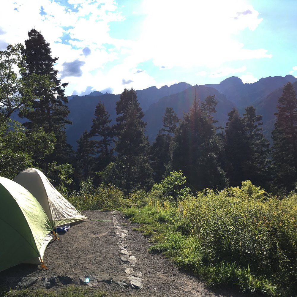 View from our little campsite. I took off my rainfly to sleep under the stars that night.