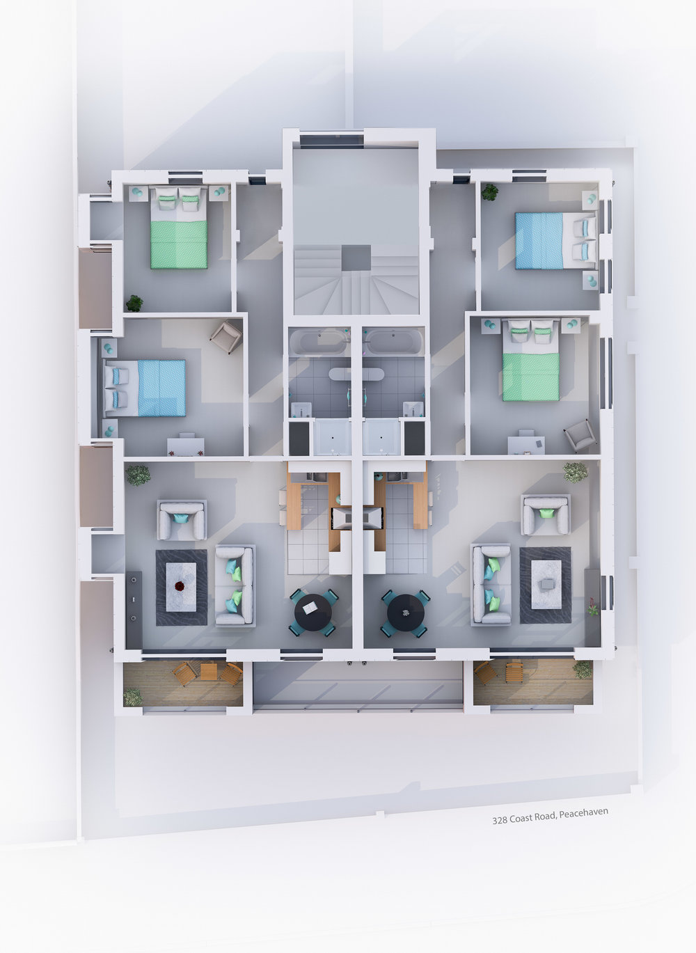 Coast Road  - 3D Floorplans - Peacehaven, UK