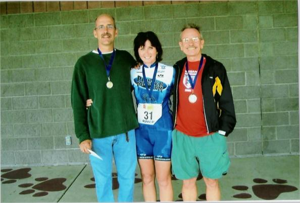 Jerry (left), Sandi (center) and Richard (right) at Dogwood Duathlon (2005)
