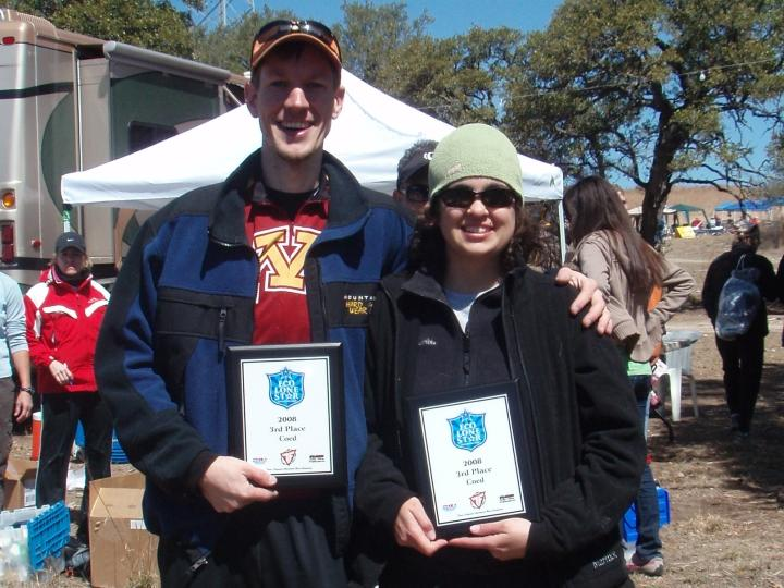 After getting lost and adding nearly 3 miles to their mountain biking route, Joel and Leigh were very surprised to learn they earned 3rd place in the Coed Division (2008-03-08)