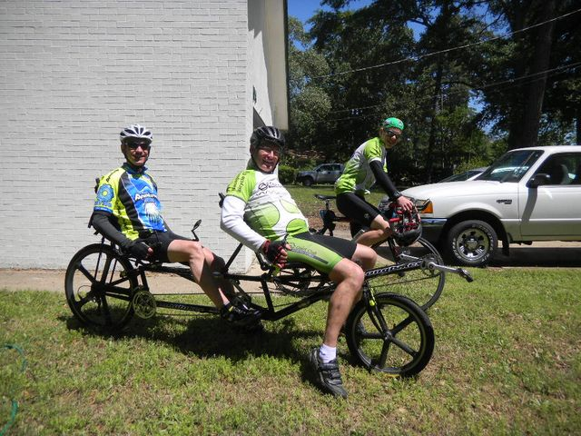 Brian and Bill on recumbent. Conner in back.