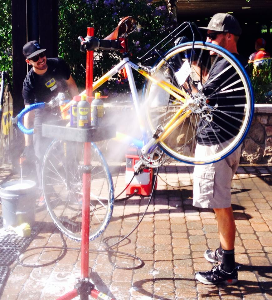 After a hard day in the saddle, Brian's bike is having a bath