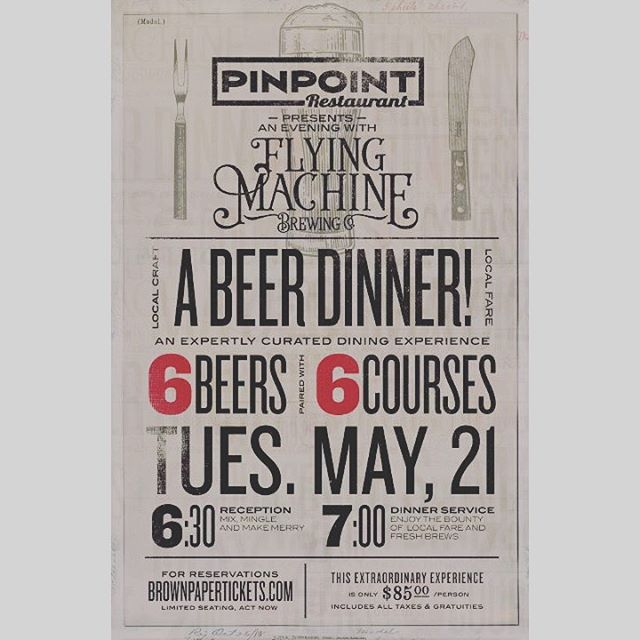 Join us May 21st for an evening with the folks over at @flyingmachinebrewing! Six courses of thoughtfully paired beer & cuisine to keep your Tuesday night interesting! Head over to brownpapertickets.com to reserve your seat today 🍻#downtownwilmington #portcity #beerdinner #ilmnc #localbrew #supportlocal #bitesandbrews #ncbeer #flyingmachinebrewing #ilm #nc #brownpapertickets #ilmeats #🍺