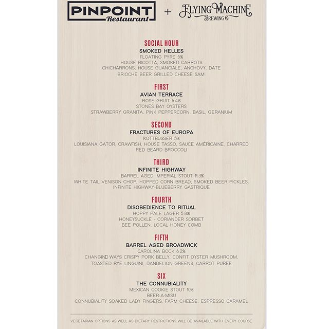 The menu is officially out! Don't miss out on this super special event! $85 per ticket including gratuity- 6 courses, 6 beers - one night only! Tuesday night May 21st 6:30 pm 🍺🌿 https://www.brownpapertickets.com/event/4243109 . . . #downtownwilmington #capefearcraft #beerdinner #ilm #nc #flyingmachinebrewing #craftandcuisine #ncbeer #ncbrew #ilmnc #brownpapertickets #portcity #ilmfoodie #🍺 #🍻 #beerandbites #capefearcoast