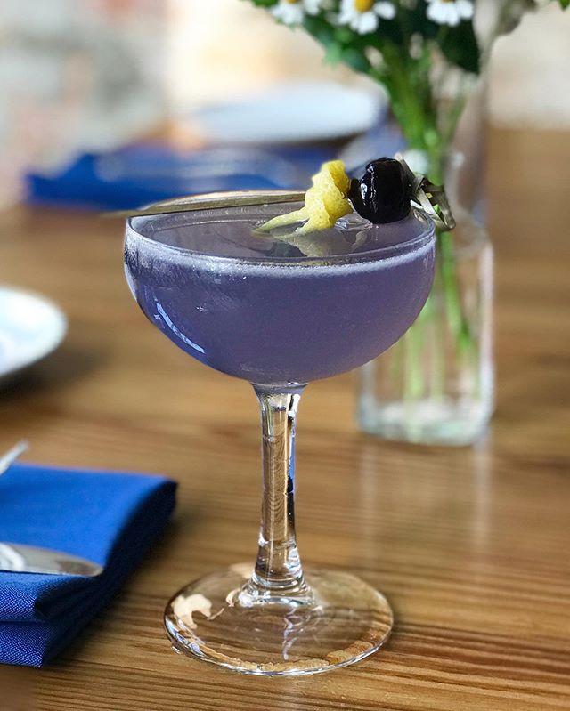 Bringing back an old classic with The Aviation // Créme de Violette, gin of choice, cherry liqueur, lemon. Bright & floral with a subtle sweetness. ☁️ ✈️ . . #downtownwilmington #cremedeviolette #aviation #rothmanandwinter #ilm #nc #cocktails #classiccocktails #purpdrank #capefearcoast #portcity #austrianalps #violetdream #gindrinks #cherryliqueur #ncsummer #ilmnc