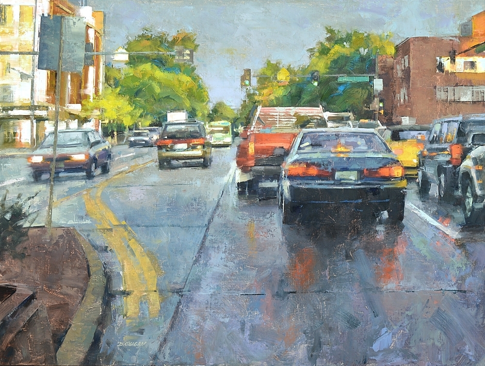 """Light Rain, University and Evans""</br>36"" x 48""</br>Oil"