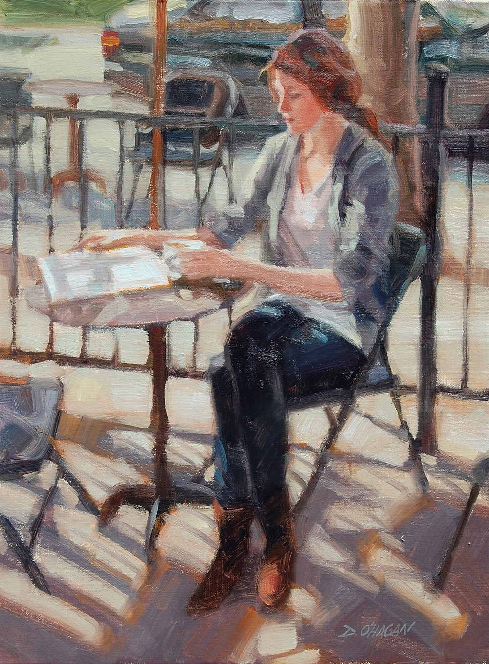 """Coffee Break, Denver""</BR>12"" x 16""</BR>Oil"