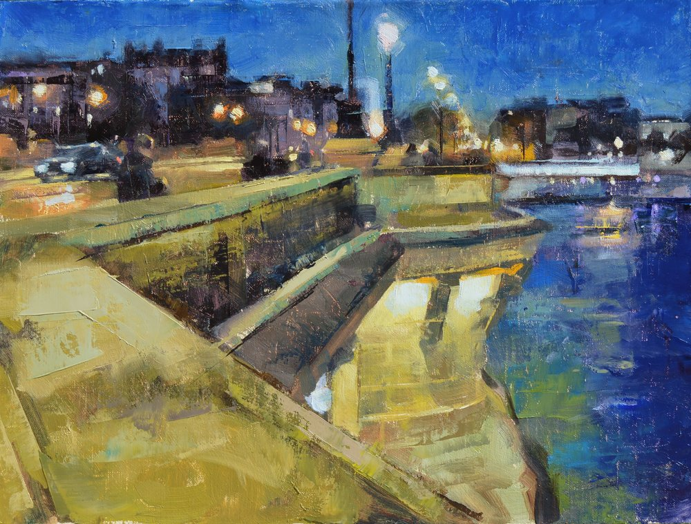 """Pont Neuf at Night, Paris""<br>12""x 16""<br>Oil"