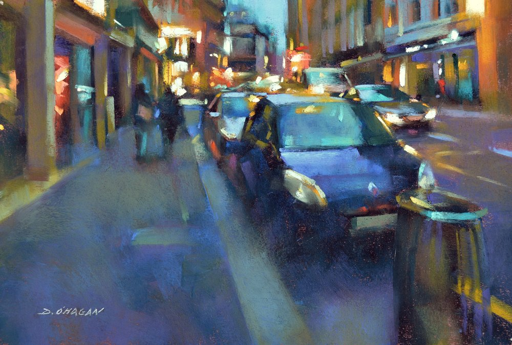 """The 9th Arrondissement at Night, Paris"" <br> 12""x 18""<br> Pastel"