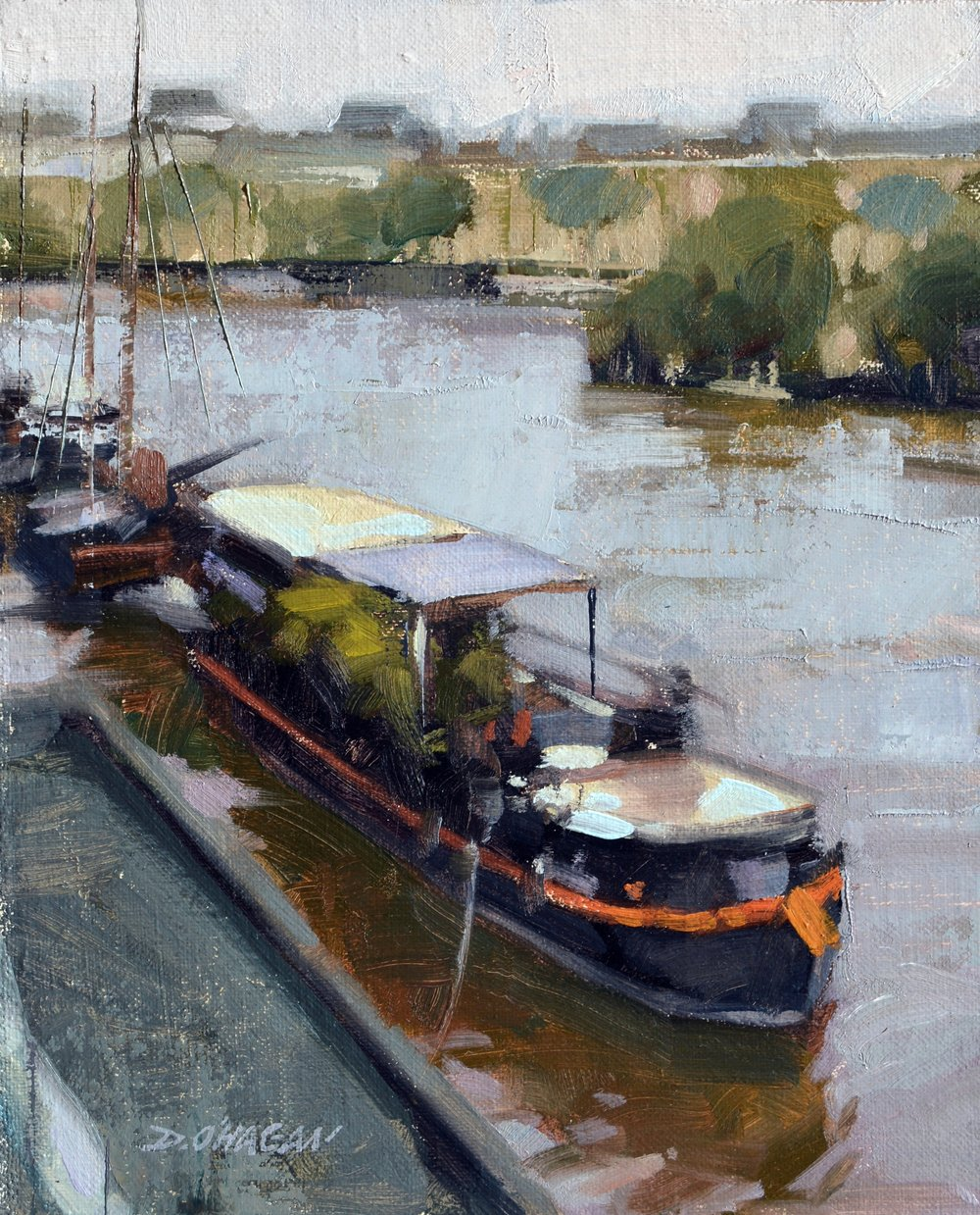 """Barges along the Seine, Paris""<br>10""x 8""<br>Oil"