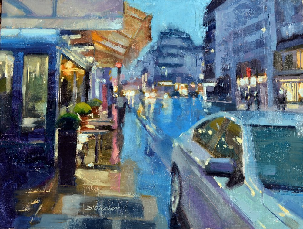 """Blue Reflections, Paris""<br>12""x 16""<br>Oil"
