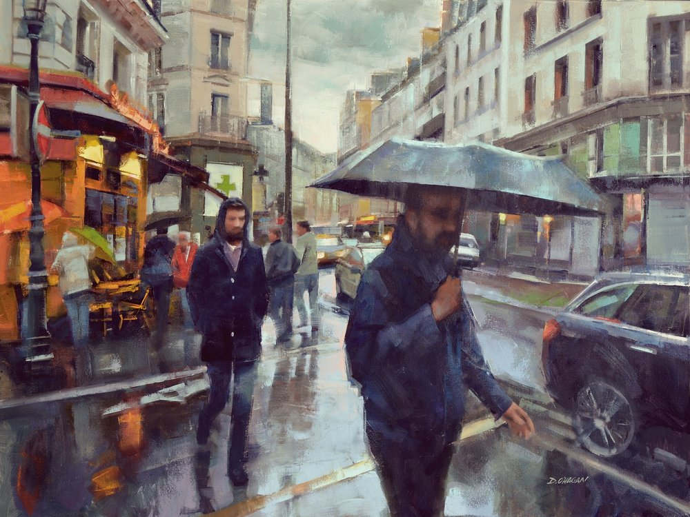 """Crosswalk, Paris""<br>36""x 48""<br>Oil"