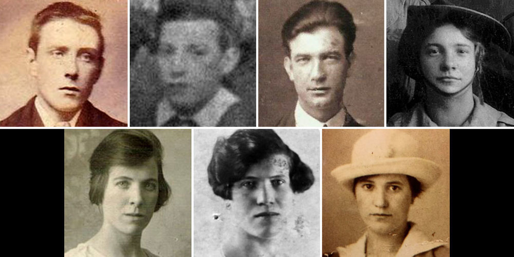 Lily and six of her nine siblings.  From top left: James, Martin, Patrick, Lily. From bottom left: Esther (Kempson) Delaney, Mary Jane (Kempson) Daly, and Josie (Kempson) Spain. Not pictured: William (died 1922) and Jane Kempson (died 1923).