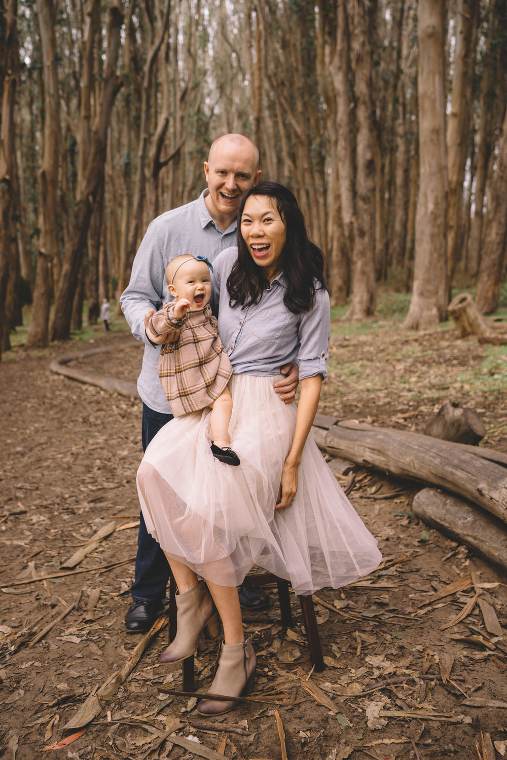 Baby girl's warm toned outfit (with hairband!) perfectly compliments her mom, Jade's tulle skirt. Great movement with this fabric.