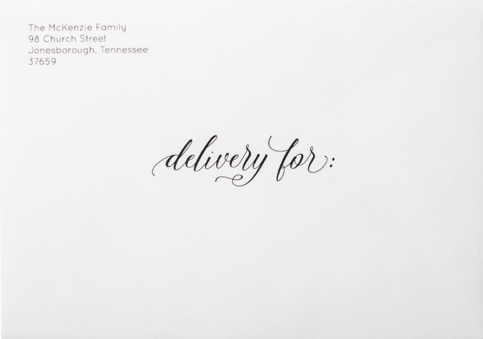'Delivery For Formal' on White Envelope