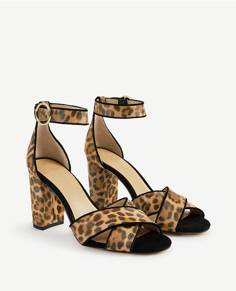 alice leopard print haircalf block heel sandals  Ann Taylor— 50% off select styles  (including a few from our  round-up! )