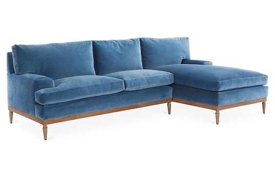 sutton sectional, harbor blue velvet  one kings lane— 20% off sitewide