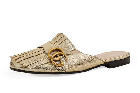 Gucci marmont metallic mule loafer  (not on sale but we love them!) neiman marcus— up to 65% off  end-of-summer sale