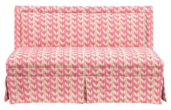 lela skirted settee, pink jetty stripe  one kings lane— 20% off sitewide