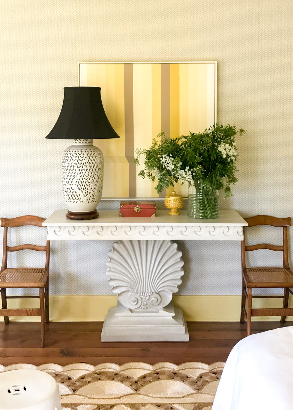 custom art by  gina julian  /  miles redd shell console  / vintage lamp, chairs, accessories