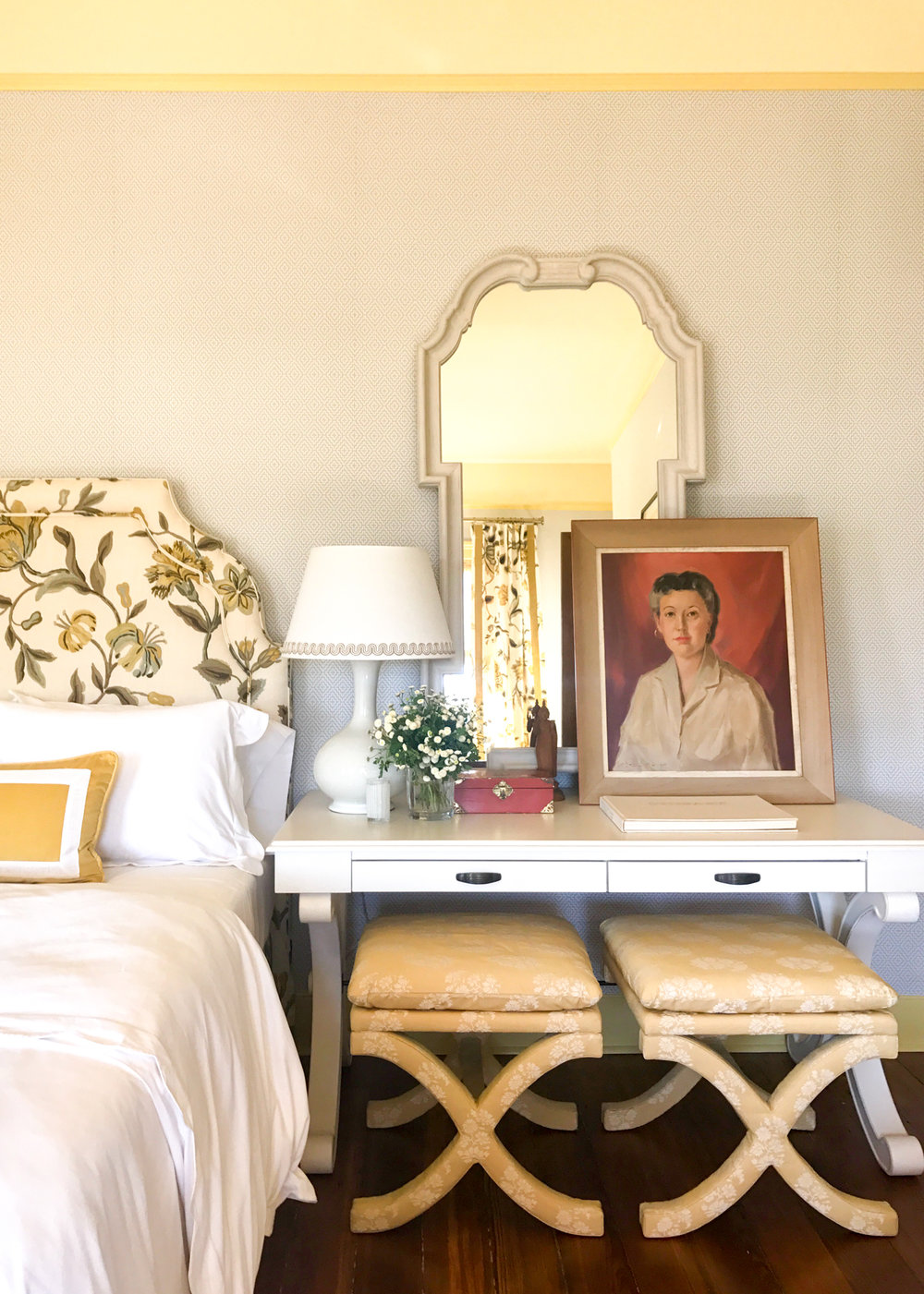 suzanne kasler bella headboard  /  miles redd queen anne mirror  /  curved x bench  /  suzanne kasler gourd lamp  /  whitley desk  /  emma scalloped bedding