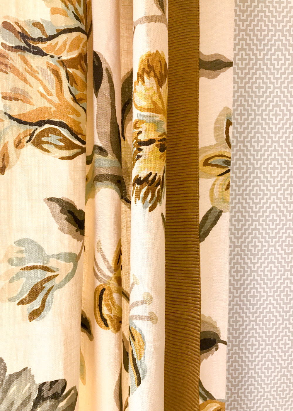 we love the soho diamond wallpaper with the custom avebury floral vine curtains