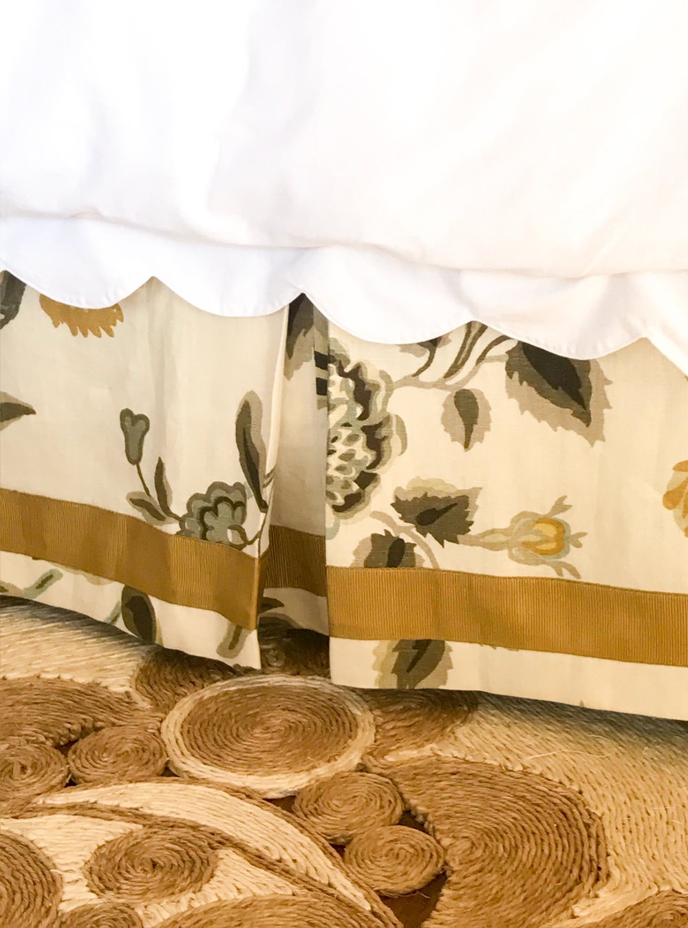 custom schumacher bedskirt with  emma scalloped bedding  and  emmeline rug