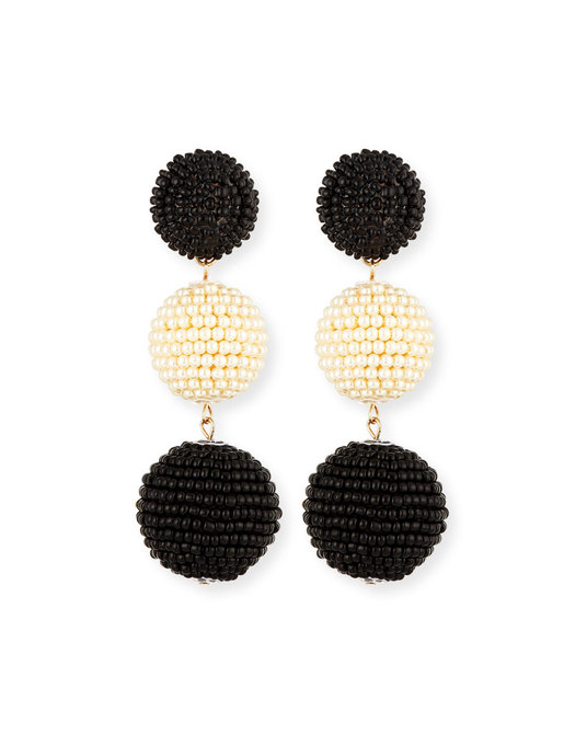 Two-Tone Bead Sparkle Earrings