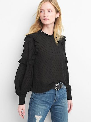 Swiss Dot Ruffle Top