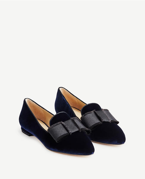 Aria Velvet Bow Loafers