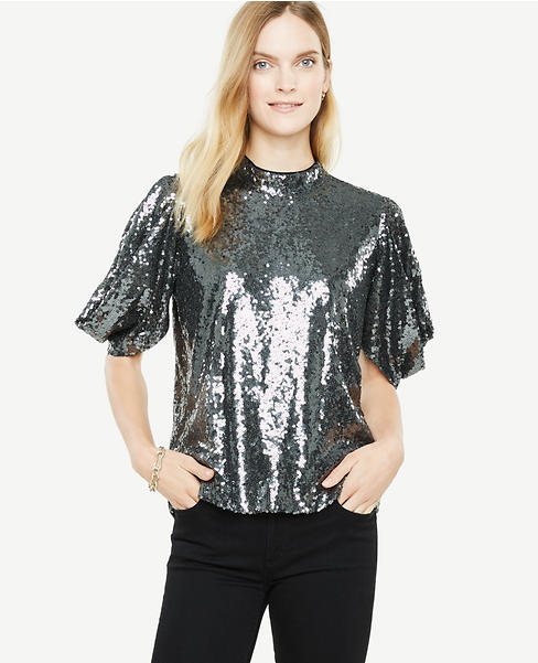 Sequined Bow Sleeve Top