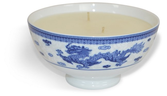Blue & White Candle