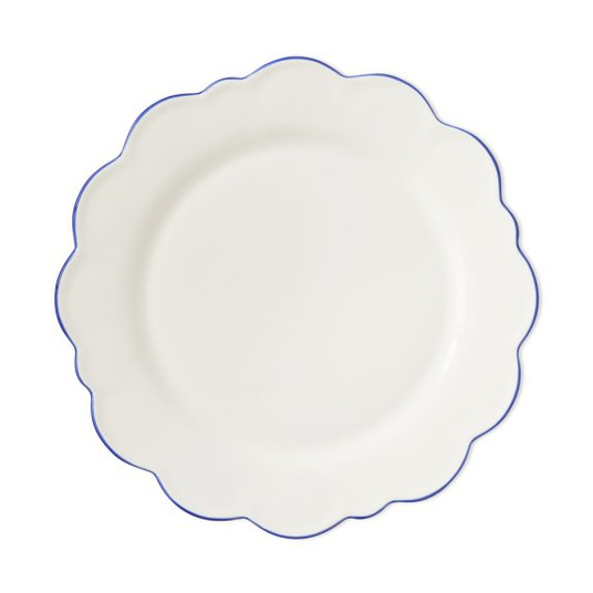 Blue Rim Scallop Plate