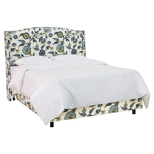 Floral Wingback Bed