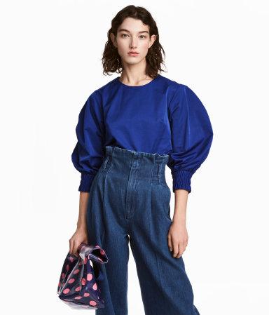 Blue Puffed Sleeve Top