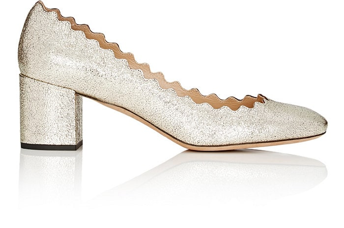 Chloe Scalloped Metallic Leather Pumps