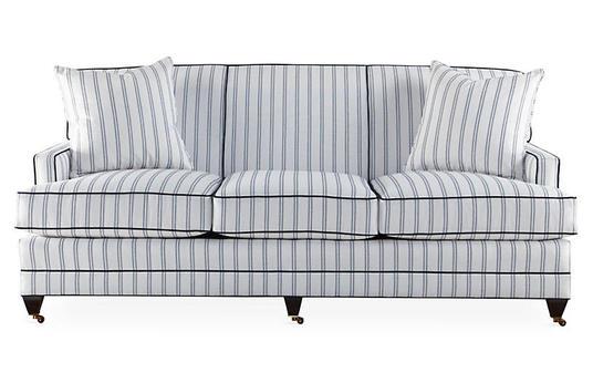 Navy + Ivory Sofa