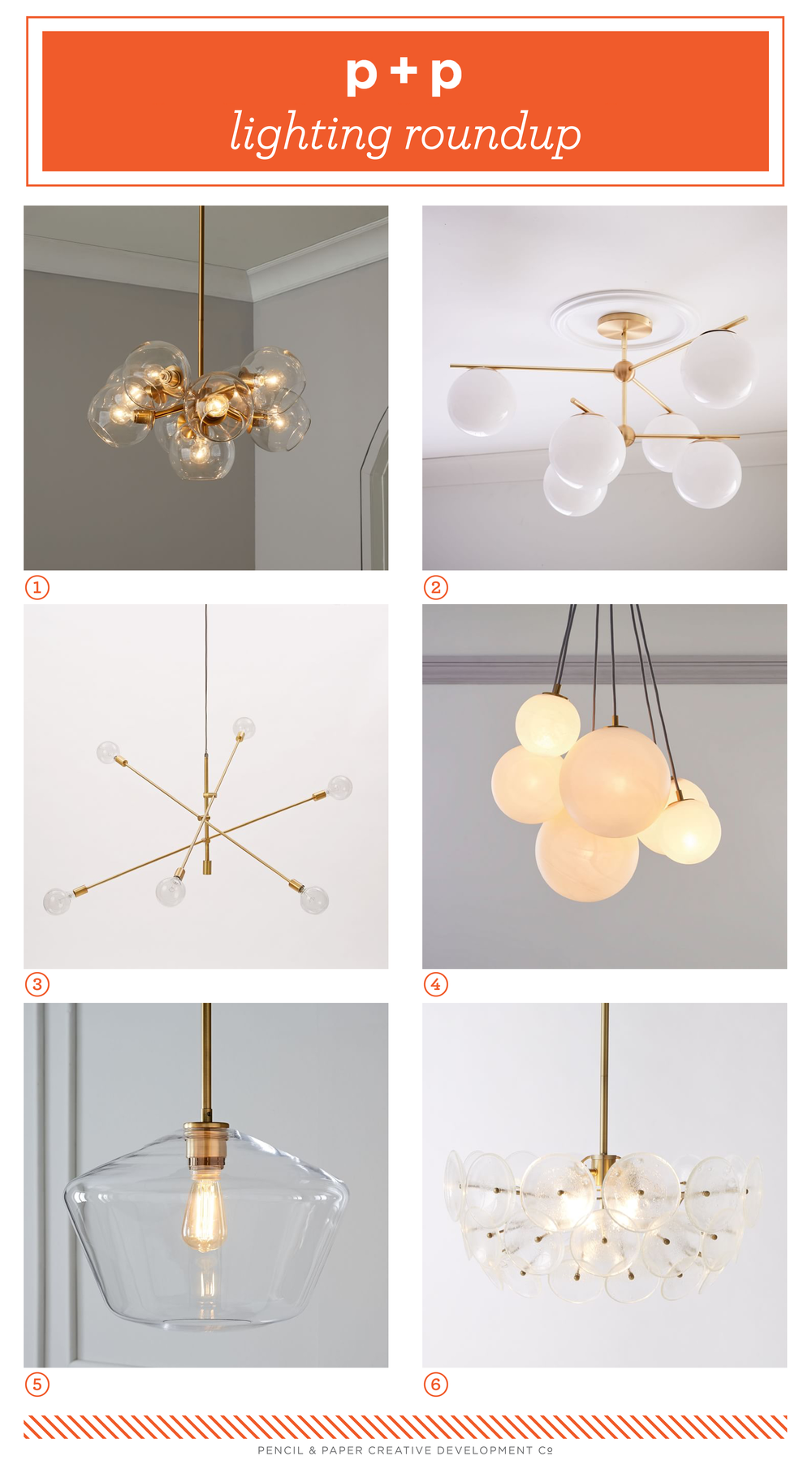 01. Staggered Glass Chandelier / 02. Sphere + Stem Chandelier and Flushmount / 03. Mobile Chandelier – Grand / 04. Zenith Chandelier / 05. Sculptural Glass Pendant / 06. Glass Disc Chandelier and Flushmount