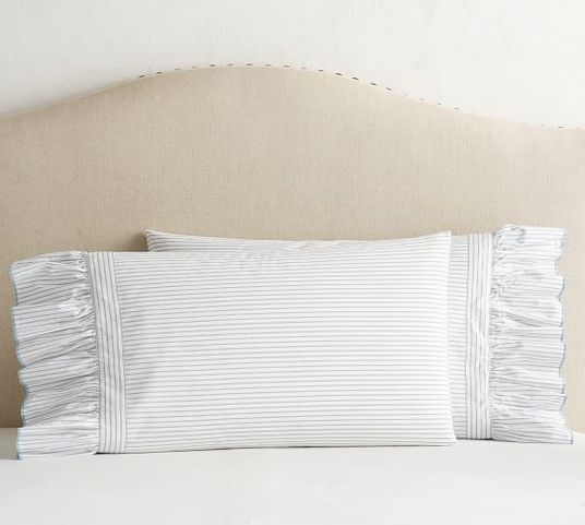 organic shirting stripe ruffle pillowcase