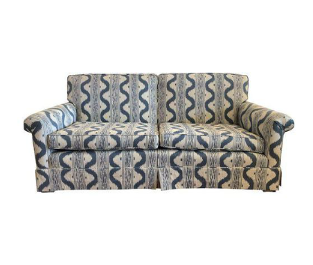 upholstered blue and white sofa
