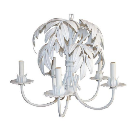 faux bamboo and palm front chandelier