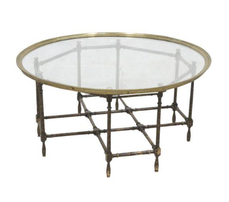 brass and glass tray top coffee table