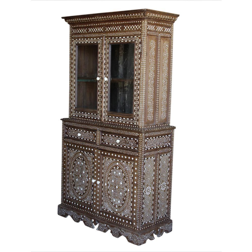 bone inlay china cabinet