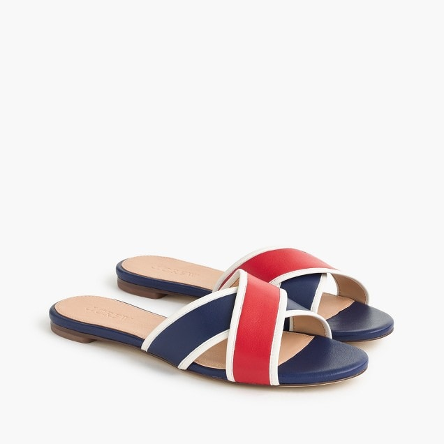 red and navy cross strap sandals