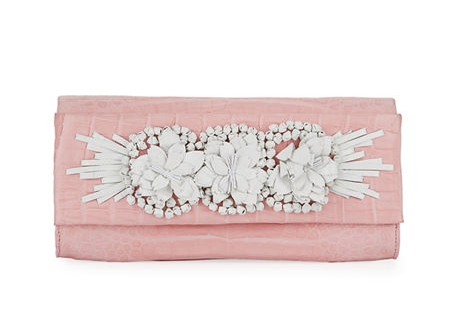 embellished crocodile clutch